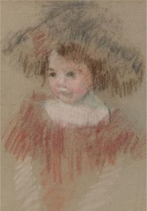 Reproduction oil paintings - Mary Cassatt - Margot In A Big Hat (Fillette, Corsage Rouge)