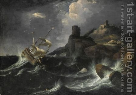 Tempesta Con Naufragio E Incendio Di Un Villaggio by (after) Bonaventura Peeters - Reproduction Oil Painting