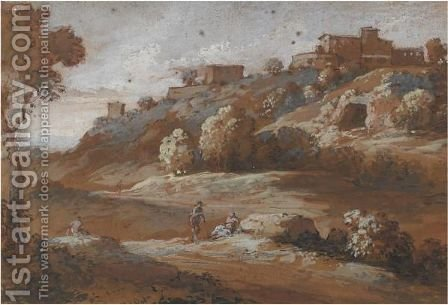 Paesaggio Con Figure, Un Paes Sulla Destra by (after) Francesco Zuccarelli - Reproduction Oil Painting