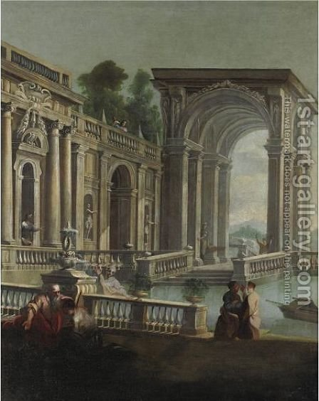 Capriccio Architettonico Con Il Ritorno Del Figliol Prodigo by (after) Gregorio De Ferrari - Reproduction Oil Painting