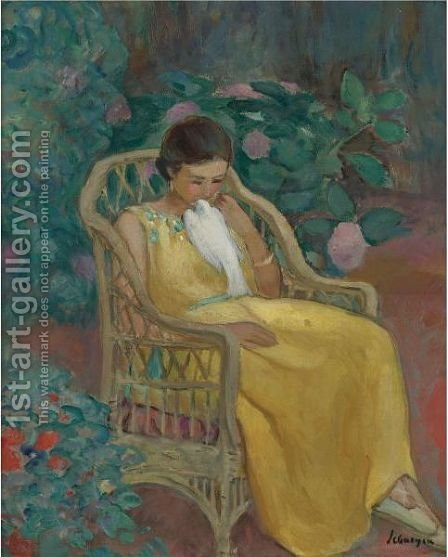 Jeune Fille A La Colombe by Henri Lebasque - Reproduction Oil Painting