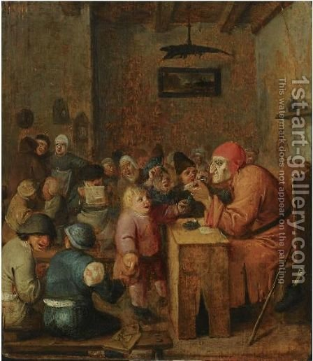 A Schoolroom Interior With Children Gathered Around A Schoolmaster by (after) Adriaen Brouwer - Reproduction Oil Painting