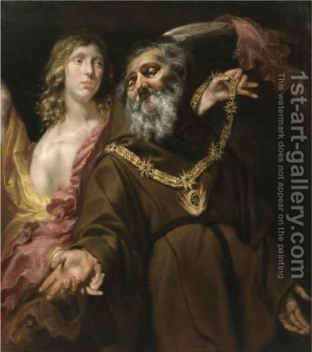 Saint Francis Of Paola Receiving The Arms From Saint Michael In A Vision by (after) Jan Cossiers - Reproduction Oil Painting