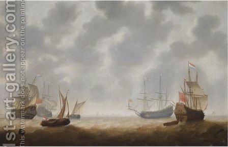 Four Galley Frigates And Two Smallships In Choppy Seas, Shipping At The Horizon by Jacob Adriaensz. Bellevois - Reproduction Oil Painting
