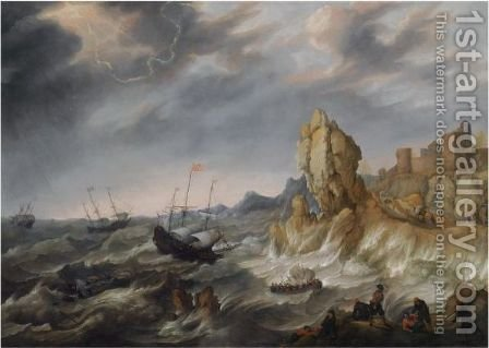 Shipping In A Heavy Storm Along A Rocky Coast by Abraham Willaerts - Reproduction Oil Painting