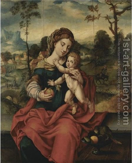 The Virgin And Child In A Landscape by Italian Unknown Master - Reproduction Oil Painting