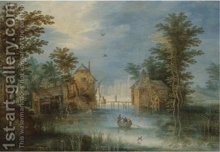 A River Landscape With Figures In A Rowing Boat Before A Village by (after) Jan The Elder Brueghel - Reproduction Oil Painting