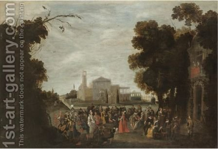 An Elegant Party In A Park Landscape With A Castle Beyond by (after) Sebastian Vrancx - Reproduction Oil Painting