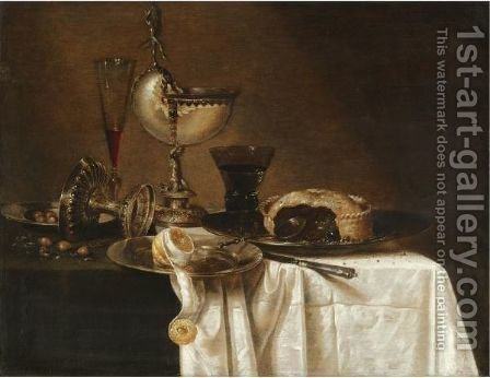 Still Life With An Overturned Tazza, A Tall Wine Glass, An Open Pie On A Pewter Plate by (after) Willem Claesz. Heda - Reproduction Oil Painting