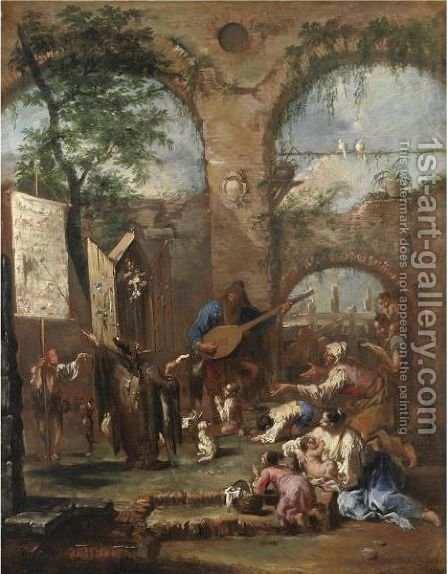 An Architectural Capriccio With A Musician And Peasants Before A Portable Altar With Saint Anthony Of Padua by Alessandro Magnasco - Reproduction Oil Painting