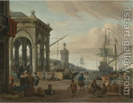 A Mediterranean Harbour Scene With Merchants And Orientals Conversing On The Quay by Abraham Storck - Reproduction Oil Painting