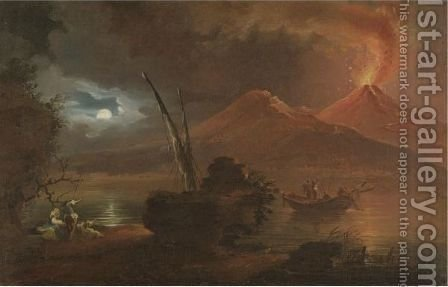 A View Of Mount Vesuvius Erupting By Moonlight by (after) Francesco Fidanza - Reproduction Oil Painting
