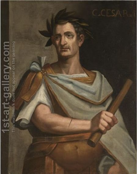 Portrait Of Julius Caeser, Half Length, Holding A Baton by (after) Bernardino Campi - Reproduction Oil Painting