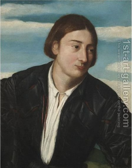 Portrait Of A Young Man, Head And Shoulders, Wearing A Black Satin Doublet And A White Shirt by (after) Jacopo D'Antonio Negretti (see Palma Giovane) - Reproduction Oil Painting
