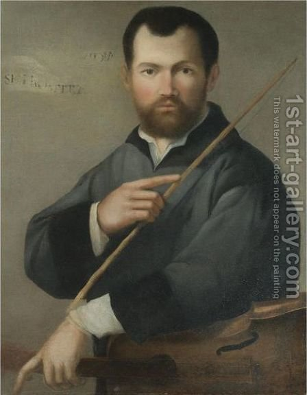 Portrait Of A Musician, Half Length, Holding A Lira Da Braccio by (after) Lorenzo Lotto - Reproduction Oil Painting