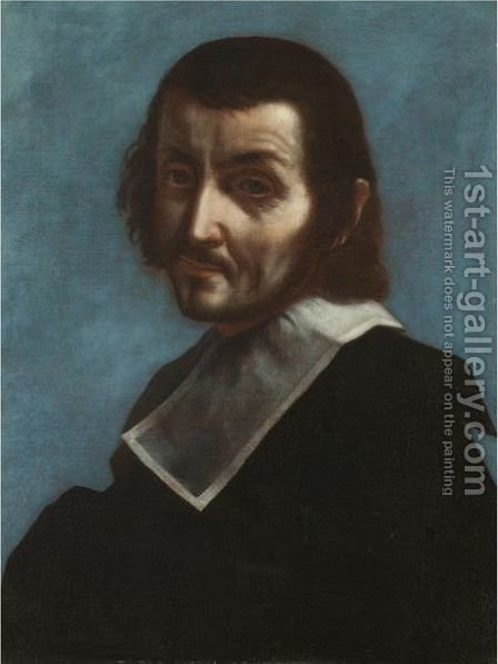 A Self-Portrait Of The Artist, Half Length, Wearing Black With A White Ruff by (after) Carlo Dolci - Reproduction Oil Painting