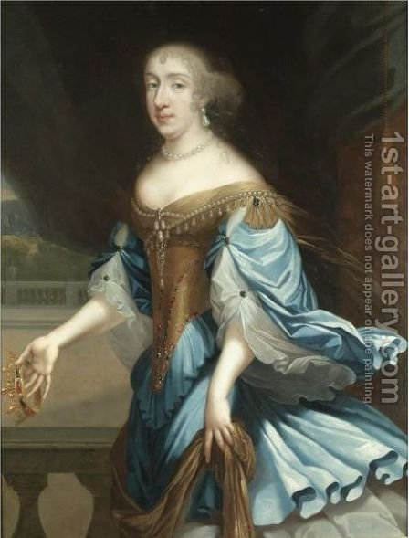 Portrait Of A Lady, Three-Quarter Length, Holding A Crown by (after) Charles Beaubrun - Reproduction Oil Painting