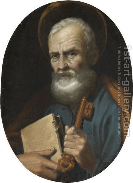 Saint Peter by (after) Giovanni Antonio (Lo Spadarino) Galli - Reproduction Oil Painting