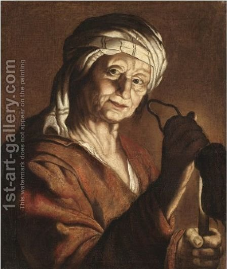 An Old Lady Holding A Candle And An Empty Purse by (after) Honthorst, Gerrit van - Reproduction Oil Painting
