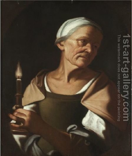 An Old Lady Holding A Candle by (after) Trophime Bigot - Reproduction Oil Painting