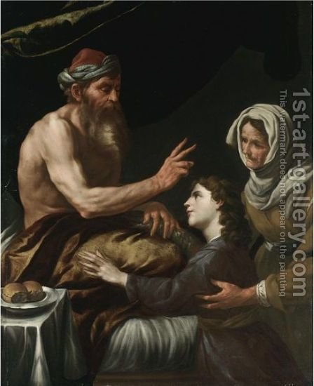 Isaac Blessing Jacob by (after) Johann Karl Loth - Reproduction Oil Painting