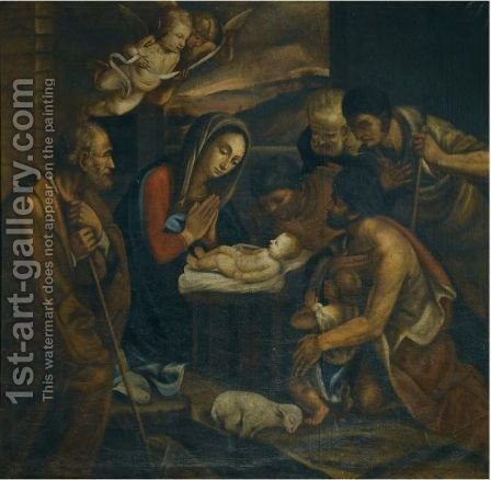 The Adoration Of The Shepherds 2 by Italian School - Reproduction Oil Painting
