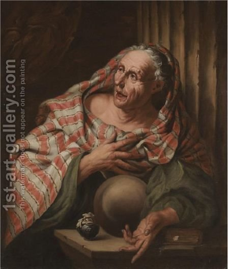An Elderly Fortune-Teller by (after) Giovanni Battista Langetti - Reproduction Oil Painting