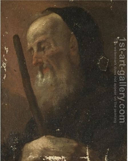 Study Of A Bearded Hermit Saint, Head And Shoulders, Possibly Anthony The Great by (after) Giovanni Battista Piazzetta - Reproduction Oil Painting