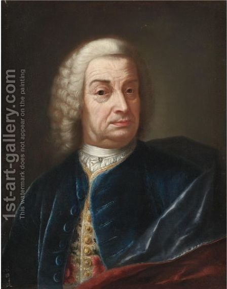 Portrait Of A Gentleman, Half Length, Wearing A Wig And A Blue Velvet Cape by (after) Nazario Nazzari - Reproduction Oil Painting