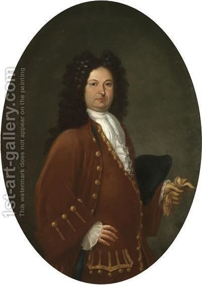 Portrait Of A Gentleman, Half Length, Wearing A Maroon Coat And Holding A Glove by (after) Sebastiano Bombelli - Reproduction Oil Painting
