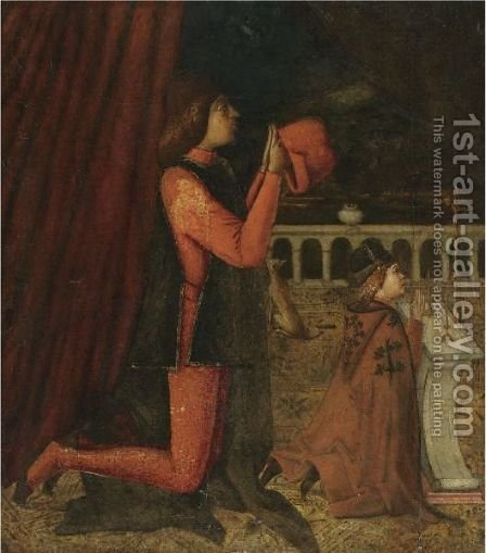 A Gentleman And His Son Kneeling At Prayer Before An Altar by (after) Vittore Carpaccio - Reproduction Oil Painting