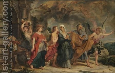 The Flight Of Lot And His Daughters From Sodom by (after) Sir Peter Paul Rubens - Reproduction Oil Painting