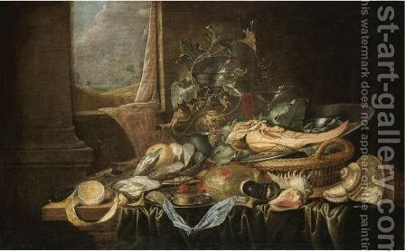 A Still Life With A Knife, A Partly-Peeled Lemon, A Compass, An Oyster by (after) Jan Davidsz. De Heem - Reproduction Oil Painting