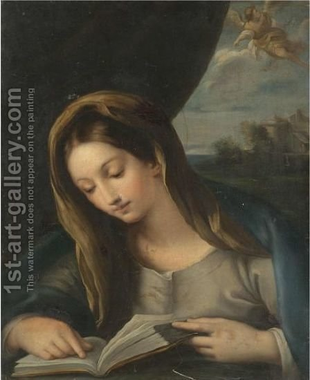 The Madonna Reading, The Angel Gabriel Approaching From The Sky by (after) Carlo Maratta Or Maratti - Reproduction Oil Painting