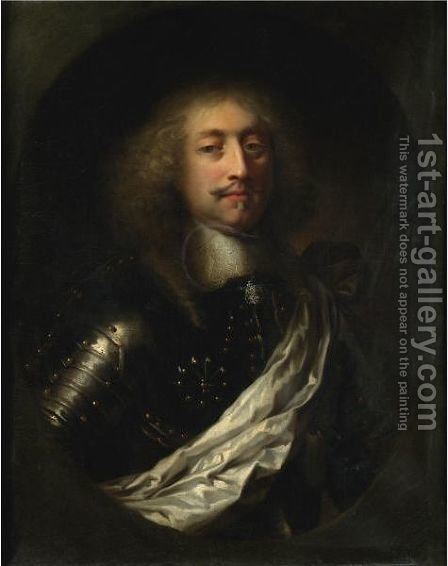 Portrait Of A Man, Half Length, Wearing Armour And A White Silk Sash by (after) Claude Lefebvre - Reproduction Oil Painting