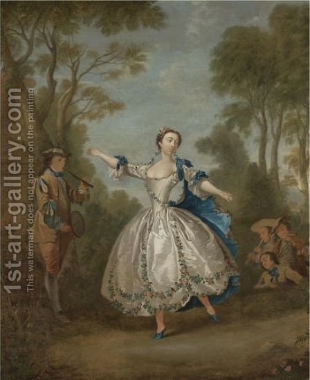 A Landscape With An Elegantly-Dressed Lady Dancing Beside Musicians by (after) Lancret, Nicolas - Reproduction Oil Painting