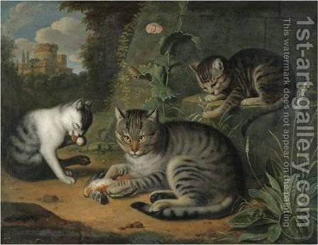 A Still Life With A Cat And Two Kittens In A Landscape by (after) Jacob Samuel Beck - Reproduction Oil Painting