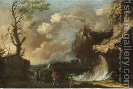 Figures By The Coast Taking Shelter From A Storm by (after) Bartolomeo Pedon - Reproduction Oil Painting