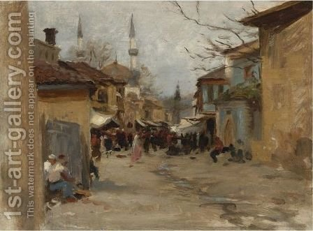A Street In Constantinople by American School - Reproduction Oil Painting