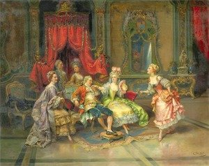 Famous paintings of Furniture: Louis XV In The Throne Room