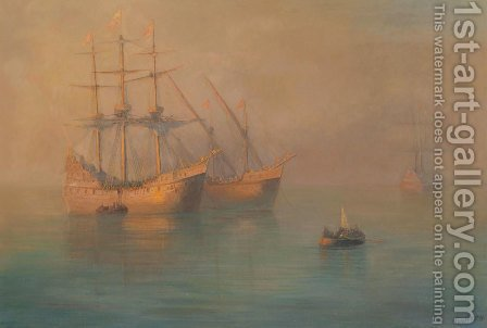 The Arrival Of Columbus' Flotilla, 1880 by Ivan Konstantinovich Aivazovsky - Reproduction Oil Painting