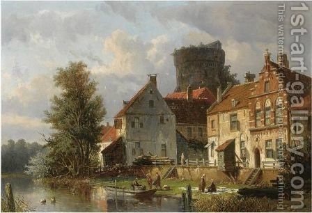 Many Figures In A Waterfront Town by Adrianus Eversen - Reproduction Oil Painting