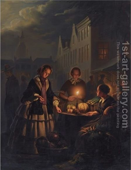 A Vegetable Market At The Grote Markt In The Hague by (after) Petrus Van Schendel - Reproduction Oil Painting