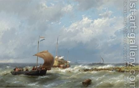 Shipping In Stormy Weather 2 by Hermanus Koekkoek - Reproduction Oil Painting