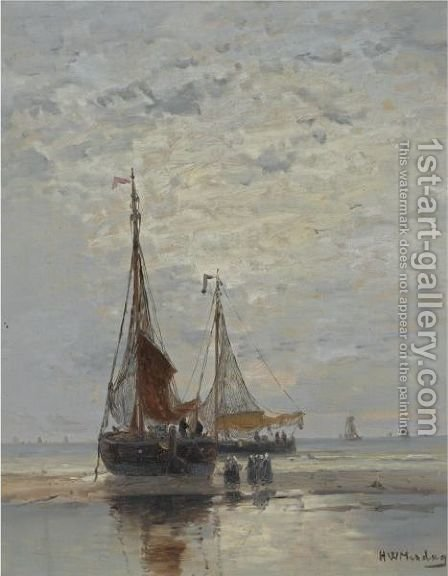 Bringing In The Catch by Hendrik Willem Mesdag - Reproduction Oil Painting