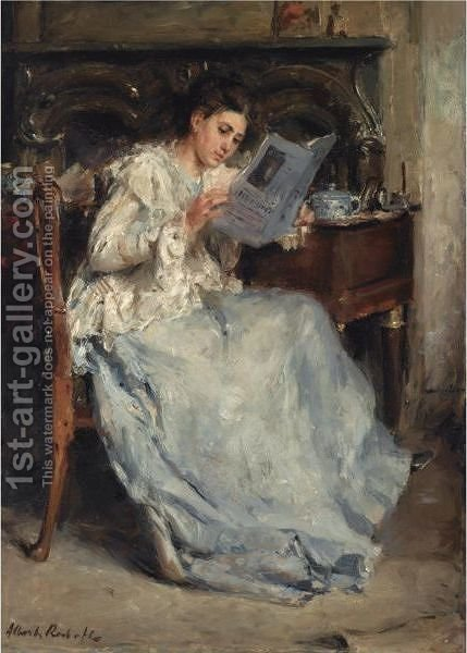 Tjieke Roelofs Reading by Albert Roelofs - Reproduction Oil Painting
