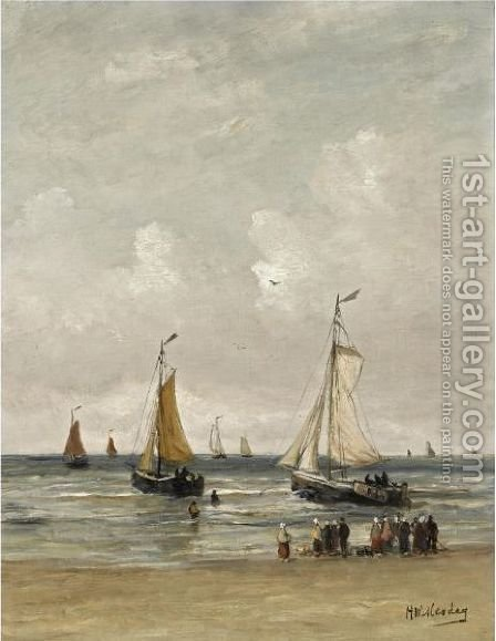 Watching The Fishing Fleet Sail Out by Hendrik Willem Mesdag - Reproduction Oil Painting