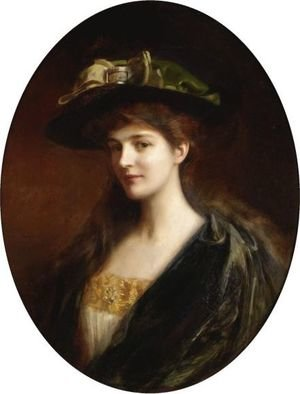 Reproduction oil paintings - Albert Lynch - Portrait Of A Lady Wearing A Green Hat