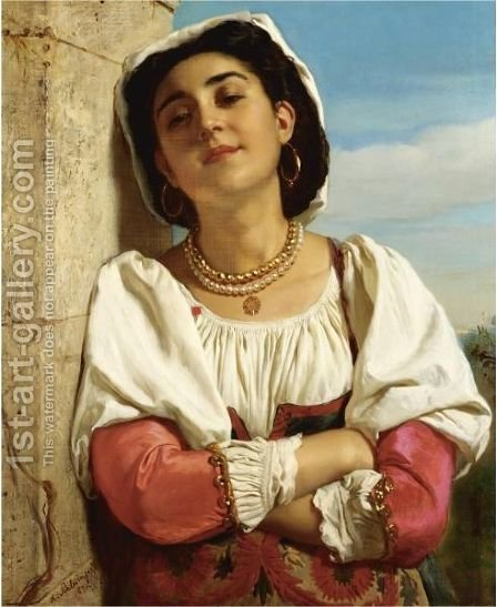 A Spanish Beauty by Henri Guillaume Schlesinger - Reproduction Oil Painting