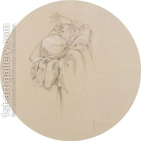 Study Of A Draped Female by Alphonse Maria Mucha - Reproduction Oil Painting